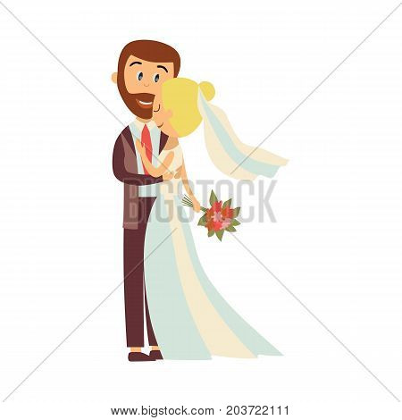 vector flat cartoon groom and bride newlywed couple holding and hugging each other with love and care. Illustration isolated on a white background. Wedding concept character design