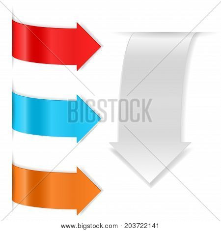 Colored shiny arrow stickers with transparent shadow. Vector 3d illustration isolated on white background