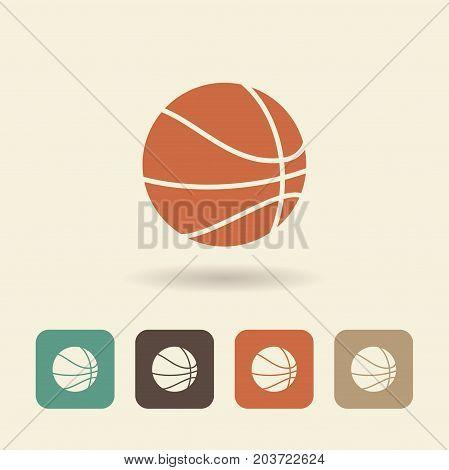 Basketball ball with shadow. Flat icon Vector logo