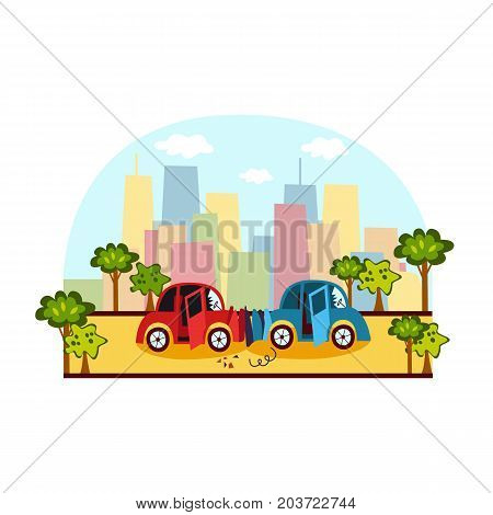 Car accident, head on collision on city street, side view colorful cartoon vector illustration. Side view picture of two cars broken, deformed after head on collision, car crash on city street