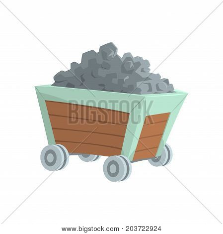 Coal mine trolley, mining industry concept cartoon vector Illustration on a white background