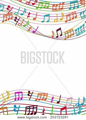 Musical background with colorful music notes and waves. Vector illustration