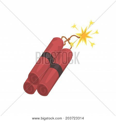 Dynamite bomb explosion with burning wick, mining industry concept cartoon vector Illustration on a white background