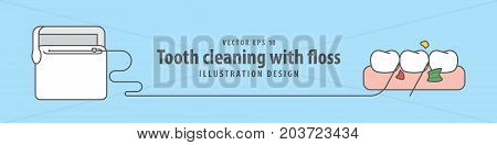 Banner Tooth Cleaning With Floss Illustration Vector On Blue Background. Dental Concept.