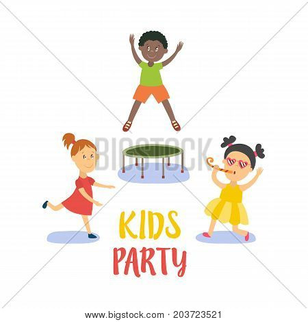 vector flat cartoon kids at party set. Black boy jumping on trampoline happily , girls singing at microphone and dancing smiling . Isolated illustration on a white background.