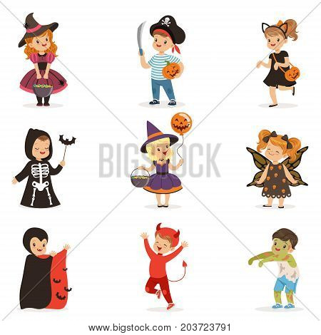 ute little kids in colorful halloween costumes set, Halloween children trick or treating vector Illustrations on a white background