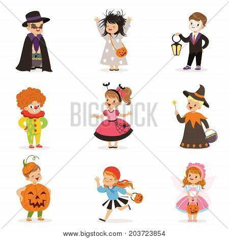 ute happy little kids in different colorful halloween costumes set, Halloween children trick or treating vector Illustrations on a white background