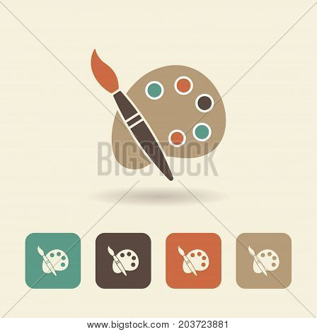 Palette with paints and brush. Vector logo painting