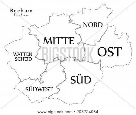 Modern City Map - Bochum City Of Germany With Boroughs And Titles De Outline Map