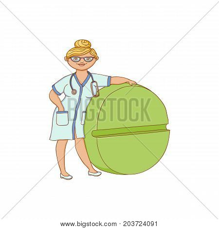 vector flat cartoon woman doctor nurce in white medical clothing gown holding huge big circle green pill drug. Adult female character. Isolated illustration on a white background.