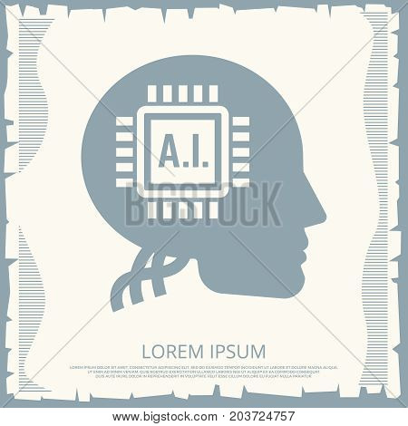 Cyborgs retro poster design with microchip in human head. Vector illustration