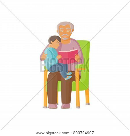 vector flat cartoon grandfather with grandson sitting at his knees reading book together. Isolated illustration on a white background. Grandparents and children relationship concept