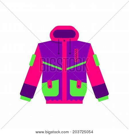 Skiing, hiking, winter sport down jacket, flat style vector illustration isolated on white background. Flat vector skiing, hiking, sport down parker, puffer jacket, colorful illustration