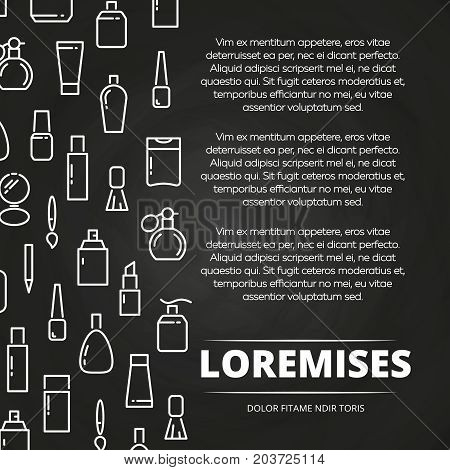 White cosmetics bottles and accessorises chalkboard poster. Vector illustration