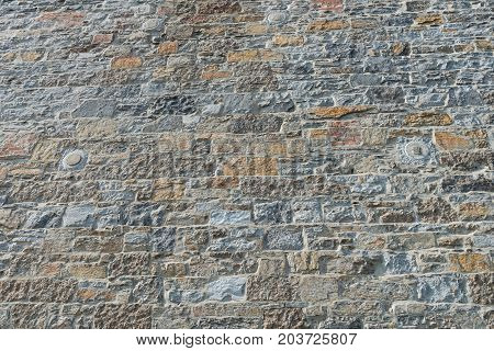 Old stone wall Old Montreal Quebec Canada
