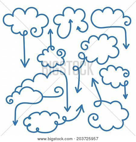 Set of speech bubbles with arrows. Empty cloud template with editable stroke. Design element for business card, paper sheet, information, note, message, motivation, comment. Vector illustration.