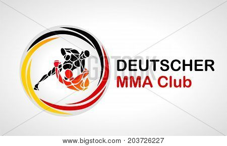 Fighters of martial mixed arts in german colors. Sport club emblem. Vector illustration of german mixfight combat. Illustration in black yellow red colours