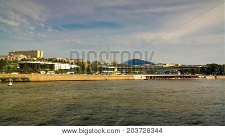 Landscape Of Modern Park Zaryadye And Soaring Pedestrian Bridge And Philharmonic, Concert Hall, Mosc