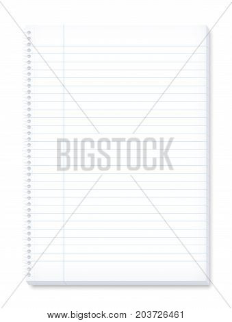 Paper notebook - lined pattern, spiral binding, margin for corrections, high size. Three-dimensional isolated vector illustration on white background.