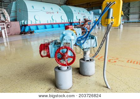 electric pump in the engine room for steam turbines of the Kursk nuclear power plant in Kurchatov, Russia
