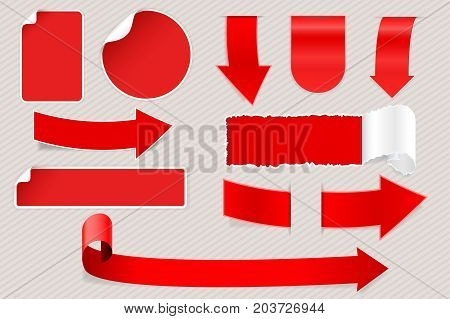 Red matted stickers. Arrows and labels with white corner. Vector 3d illustration