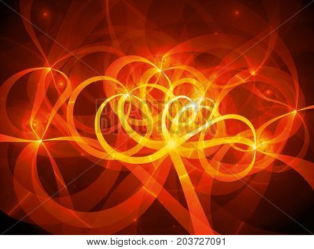 Fiery glowing spaghetti curves in space computer generated abstract background 3D rendering