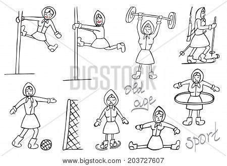 humorous illustration on a white background the old woman in various sports and pole dancing.