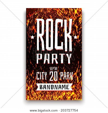 Rock party or festival banner template. Black banner with realistic fire background. Rock music concert poster flyer leaflet. Advertising poster with flame. Vector illustration