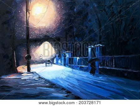 Winter alley in park and shining lanterns. Night. Original oil painting on canvas. Modern Art. Expressionism