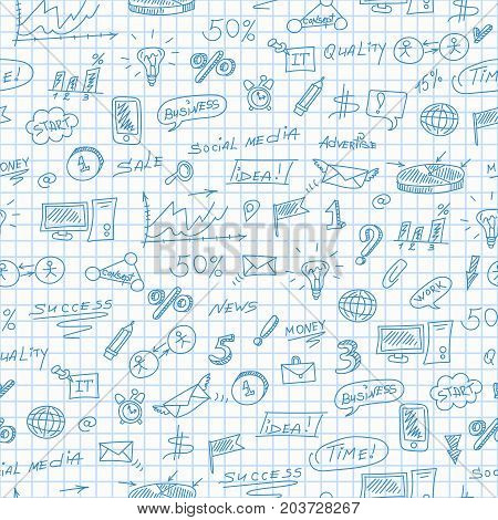 Seamless pattern on the theme of business simple contour icons blue contour icons on the clean writing-book sheet in a cage