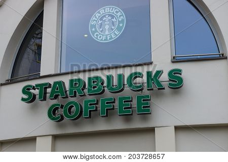 BERLIN - FEBRUARY 22 2015: Starbucks Coffee. Starbucks is the largest coffeehouse company in the world with 20891 stores in 62 countries.