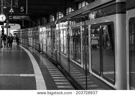 BERLIN - FEBRUARY 22 2015: Berlin urban rail transport - S-Bahn. Black and white.