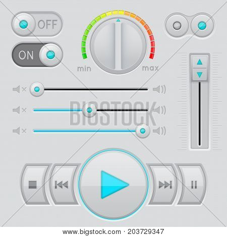 User interface buttons with slider bar. Vector 3d illustration