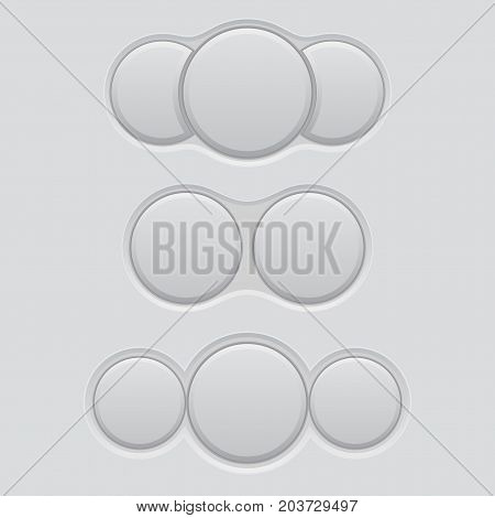 White blank double and triple buttons. Normal and pushed active. Vector 3d illustration