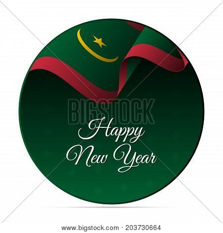 Happy New Year banner or sticker. Mauritania waving flag. Snowflakes background. Vector illustration.