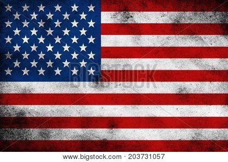 Illustration of grunge U S A flag background