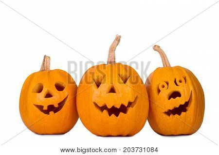 Halloween pumpkin, three funny face isolated on white background.