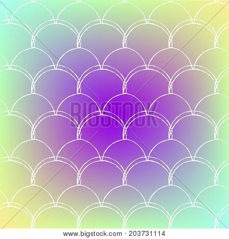 Squama on trendy gradient background. Square backdrop with squama ornament. Bright color transitions. Mermaid tail banner and invitation. Underwater and sea pattern. Rainbow colors.