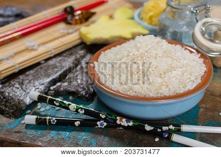 Asian Food Background. Sushi And Rolls Preparation. Making Sushi At Home Traditional Sushi Ingredien