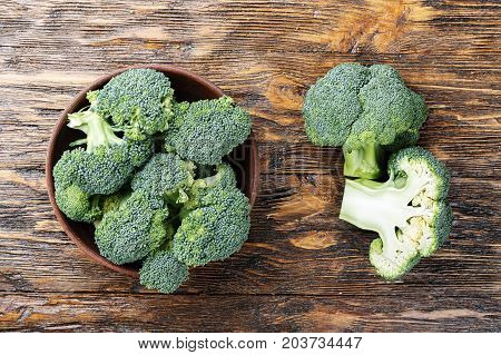 inflorescence of raw broccoli on a conservative background a useful vegetarian dish