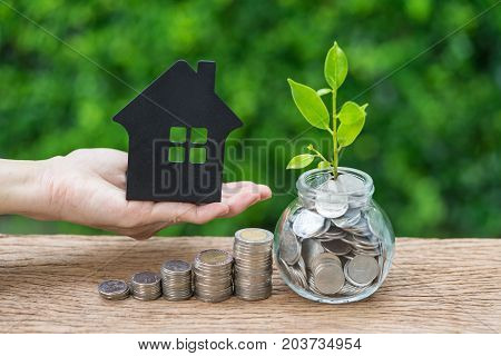growth sprout plant in jar with full of coins and hand holding paper house as property or mortgage investment concept.