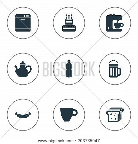 Elements Lager, Dishware Washer, Blender And Other Synonyms Lager, Dishwashing And Bread.  Vector Illustration Set Of Simple Gastronomy Icons.