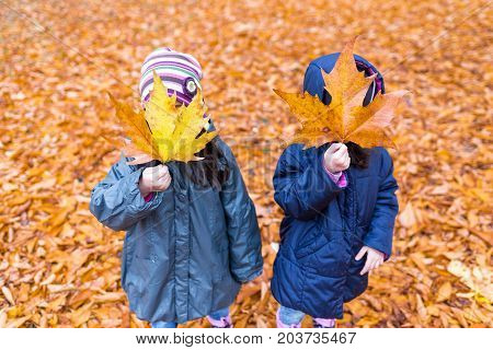 Little Girls With A Hidden Face With A Maple Leaf In An Autumn Park