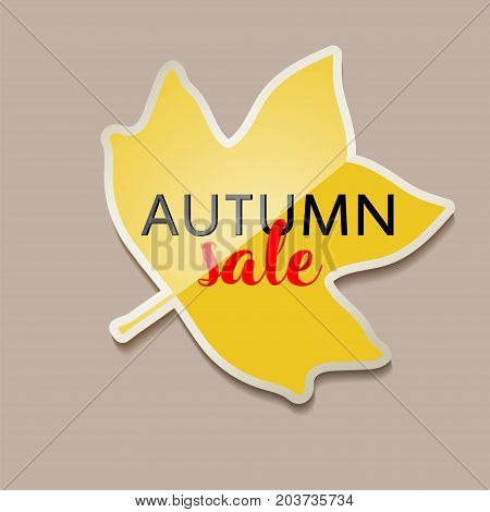 Autumn sale banner with yellow fall tulip tree leaf . Vector illustration with yellow autumn tulip tree leaf. Yellow sticker for autumn sale with leaf. Fall discount.