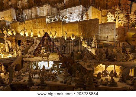 BANSKA STIAVNICA, SLOVAKIA - AUGUST 18, 2017: Wooden Bethlehem in Banska Stiavnica, Slovakia on August 18, 2017.