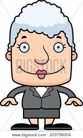 Cartoon Smiling Businessperson Woman