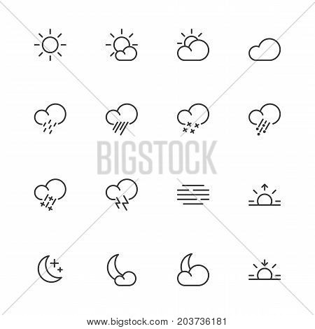 Weather icons, meteorology simple line symbols, vector illustration