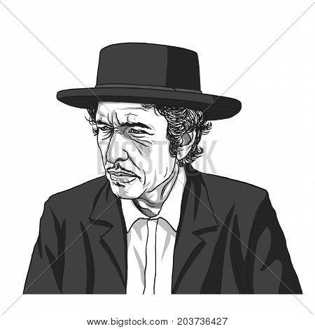 Bob Dylan Vector Illustration Drawing. September 11, 2017