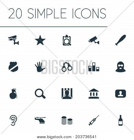 Elements Overhear, Cash, Lock And Other Synonyms Handcuffs, Syringe And Searching.  Vector Illustration Set Of Simple Offense Icons.