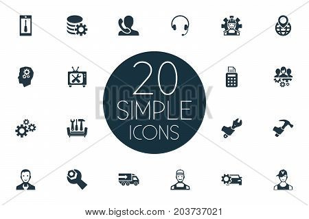 Elements Warranty Repairing, Wrench, Telephone Setting And Other Synonyms Engineering, Point And Instrument.  Vector Illustration Set Of Simple Service Icons.